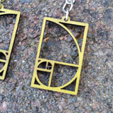 Golden Ratio Fibonacci Laser Cut Wood Earrings 136 Green Tree Jewelry Close Up