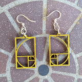 Golden Ratio Fibonacci Laser Cut Wood Earrings 136 Green Tree Jewelry Lime Green