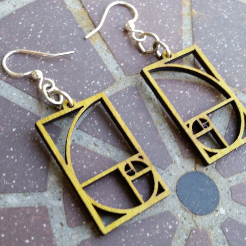 Golden Ratio Fibonacci Laser Cut Wood Earrings 136 Green Tree Jewelry