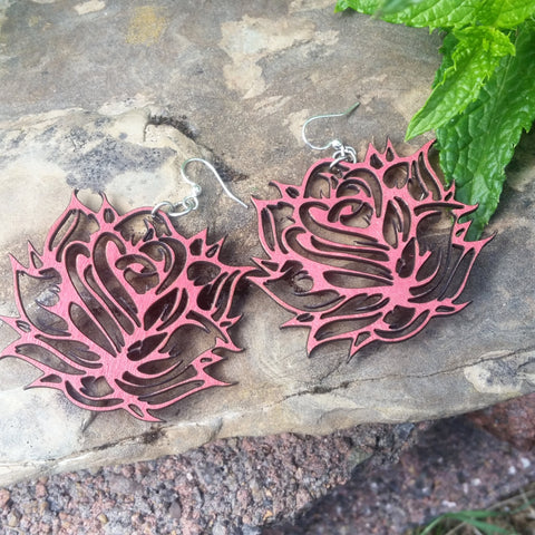 prickly rose red green tree jewelry laser cut earrings at jennymonkey