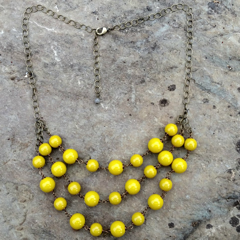mustard yellow gem necklace by harlow jewelry