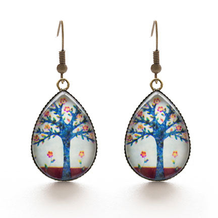 Tree of Love Ephemera Glass Dome Teardrop Earrings