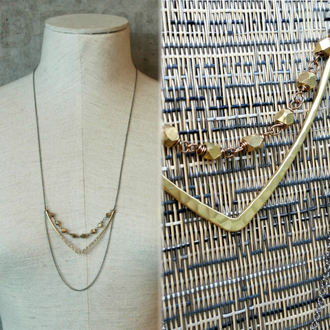 long dangle necklace Gold Chevron with Brass Hexagons Harlow Jewelry made in Portland Oregon