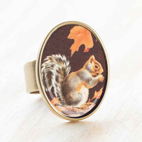squirrel ring acorn on maple tree branch ephemera in resin jennymonkey.com