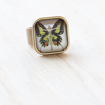 Butterfly Lady Ring, Resin on Antiqued Bronze by Beijo Brasil