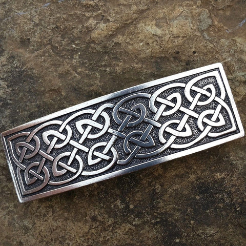jennymonkey large celtic knot oberon design pewter hair clip