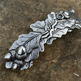 Oak Leaf/Leas Hand Cast Pewter Hair Clip Barrette by Oberon Design