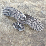 Owl Open-Winged Hand Cast Pewter Hair Clip Barrette by Oberon Design