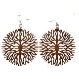 Below the Roots Cinnamon Brown Laser-Cut Wood Earrings Green Tree Jewelry