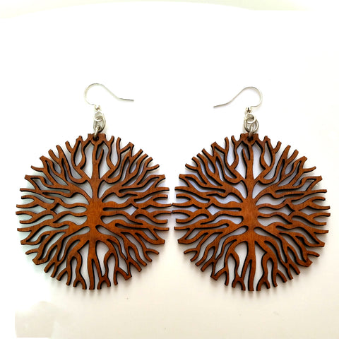 Below the Roots Laser Cut Wood Earrings by Green Tree Jewelry