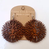 laser cut wood earrings at jennymonke by green tree jewelry below the roots