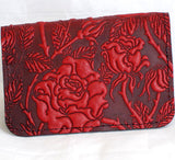 jennymonkey oberon design wild rose red leather business card mini wallet