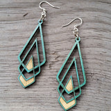 Chevron Deco Teal Laser-Cut Wood Earrings by Green Tee Jewelry