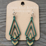 jennymonkey art deco chevron laser cut wood earrings teal green tree jewelry