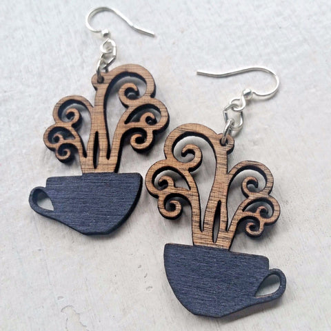 Coffee Cups Steaming Black & Tan Laser-Cut Wood Earrings