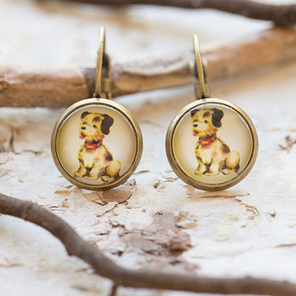 vintage dog ephemera earrings beijo brasil jennymonkey gde016