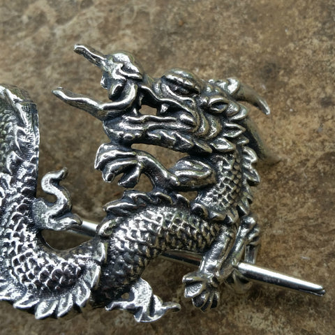 Pearl Dragon Hand Cast Pewter Hair Slide Stick Barrette Oberon Design