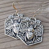jennymonkey bee garden pewter earrings eR61 oberon design