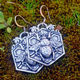 jennymonkey bee garden honeycomb pewter earrings eR61 oberon design
