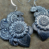 spanish paisley design pewter earrings by oberon design er21