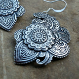 Carmen Spanish Paisley Hand Cast Pewter Earrings by Oberon Design