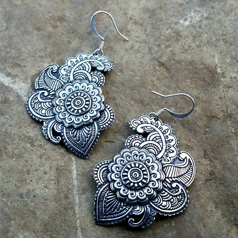 carmen spanish paisley pewter earrings at jennymonkey by oberon design