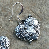 jennymonkey pewter earrings fearless heart ER28 close up