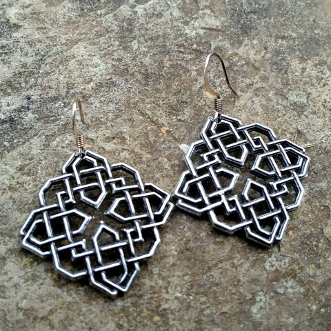 Harmony Knot Hand Cast Pewter Earrings by Oberon Design