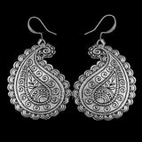 Paisley Pattern Hand Cast Pewter Earrings by Oberon Design
