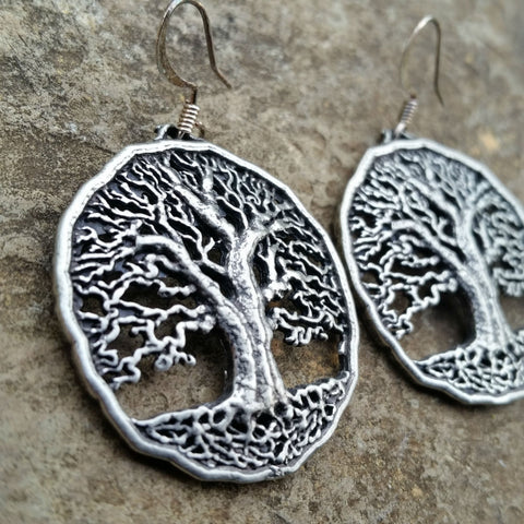 jennymonkey tree of life pewter earrings E05 oberon design akilter