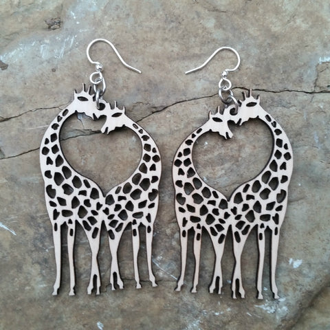giraffe heart earrings best sellers laser cut wood green tree jewelry