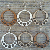Hanging Circle Natural Undyed Laser-Cut Wood Earrings Green Tree Jewelry