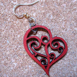 Heart in Vines Wine Red Laser-Cut Wood Earrings