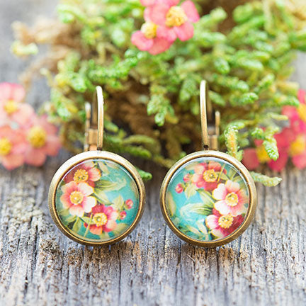 Spring Blossoms Ephemera Glass Dome Dangle Earrings
