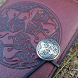jennymonkey small leather journal celtic horse oberon design pewter button