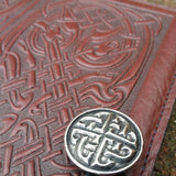 "Celtic Hounds Wine Brown 5""x 7"" Small Leather Journal"