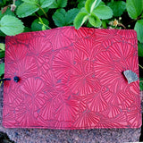 "Ginkgo Leaves Red 6""x 9"" Large Leather Journal by Oberon Design"