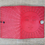 face in sun leather art journal bench pressed leather jennymonkey