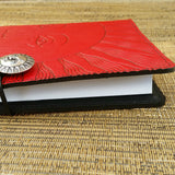 "Sun Face Radiating Rays 6""x 9"" Large Red Leather Journal by Oberon Design"
