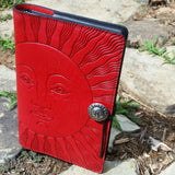 oberon design celestial face journal hand made leather at jennymonkey
