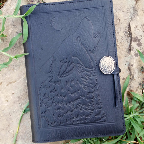 singing wolf leather journal in black at jennymonkey, by oberon design