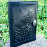 black leather wolf journal howling at moon jennymonkey