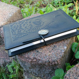 luxury leather journal black leather singing wolf refillable