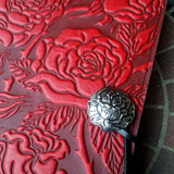 jennymonkey wild rose leather journal jsa15 jla15 oberon design close up pewter