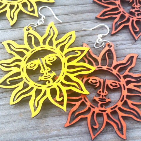 jennymonkey sun 1004 laser cut wood earrings green tree jewelry