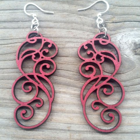 jennymonkey filigree scroll wine red 1074 laser cut wood earrings green tree jewelry