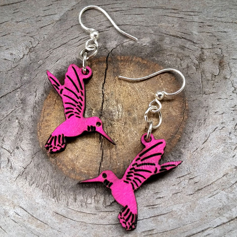 jennymonkey hummingbird blossoms 112 laser cut wood earrings green tree jewelry