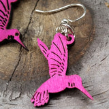 jennymonkey hummingbird blossoms 112 laser cut wood earrings green tree jewelry reverse close up