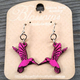 jennymonkey hummingbird blossoms 112 laser cut wood earrings green tree jewelry backing card