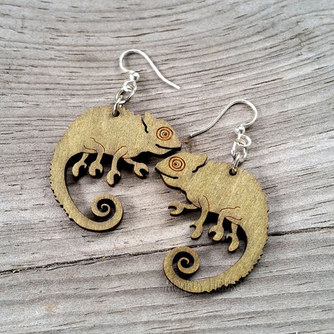 jennymonkey chameleon 1136 laser cut wood earrings green tree jewelry 1